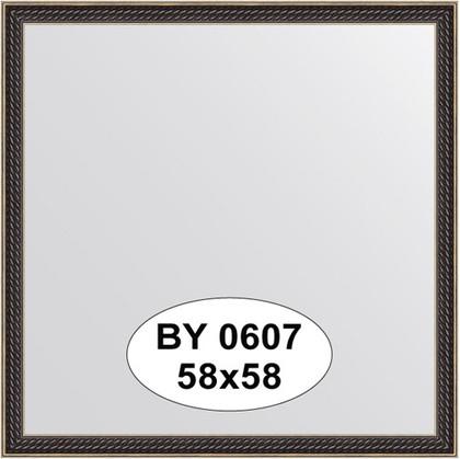 Зеркало 58x58см в багетной раме витой махагон Evoform BY 0607