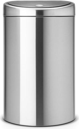 Ведро для мусора с плоской задней стороной 40л стальное матовое Brabantia TOUCH BIN 378683