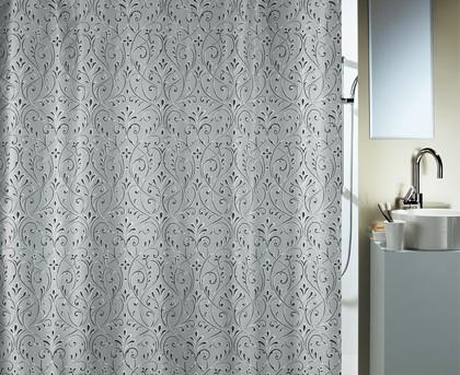 Штора для ванны 180x200см текстильная серебристая Spirella FIORENZA 1017003