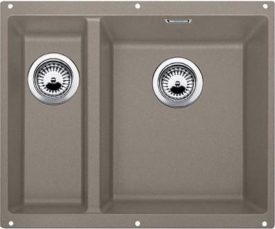 Кухонная мойка без крыла, основная чаша справа, с клапаном-автоматом, гранит, серый беж Blanco SUBLINE 340/160-U 520409