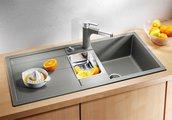 Кухонная мойка оборачиваемая с крылом, с клапаном-автоматом, коландером, гранит, шампань Blanco METRA 6 S 513939