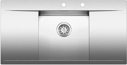 Кухонная мойка крыло слева и справа, с клапаном-автоматом, нержавеющая сталь зеркальной полировки Blanco FLOW 45 S-IF 515816