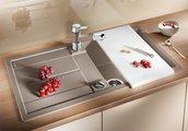 Кухонная мойка оборачиваемая с крылом, с клапаном-автоматом, гранит, алюметаллик Blanco METRA 5 S 513036