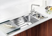 Кухонная мойка чаши справа, крыло слева, с клапаном-автоматом, с коландером, нержавеющая сталь зеркальной полировки Blanco AXIS II 6 S-IF Steamer Edition 516529