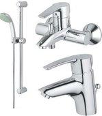 Комплект смесителей для раковины и для ванны с душевым гарнитуром, хром Grohe EUROSTYLE 11694000
