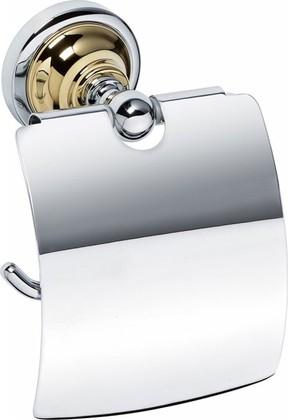 Держатель туалетной бумаги с крышкой, золото-хром, Bemeta 144212018
