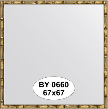 Зеркало 67x67см в багетной раме золото-бамбук Evoform BY 0660