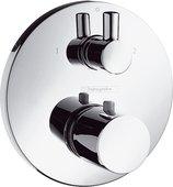 Наружная часть термостата для ванны с душем с запорным и переключающим вентилем, с цилиндрической рукояткой, хром Hansgrohe Ecostat S 15721000