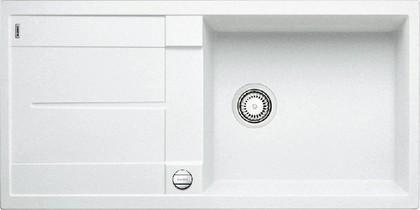 Кухонная мойка оборачиваемая с крылом, с клапаном-автоматом, гранит, белый Blanco METRA XL 6 S-F 516522
