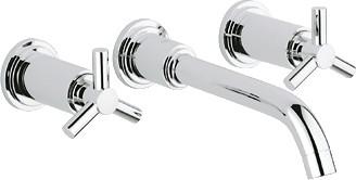 Смеситель настенный встраиваемый вентильный на три отверстия для раковины без встраиваемого механизма, хром Grohe ATRIO 20387000