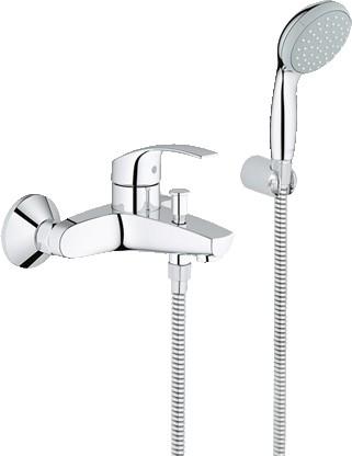 Смеситель для ванны однорычажный с душевым гарнитуром, хром Grohe EUROSMART 33302002
