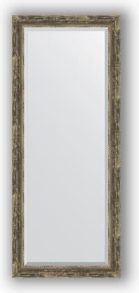 Зеркало с фацетом в багетной раме 63x153см старое дерево с плетением 70мм Evoform BY 3564