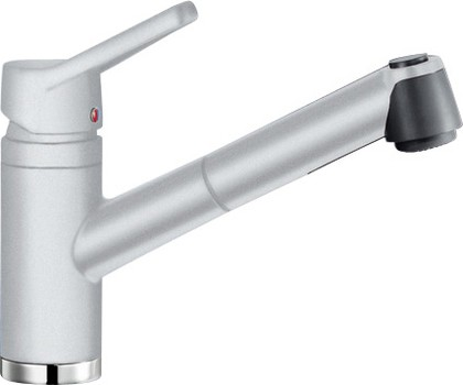 Смеситель кухонный однорычажный с выдвижным изливом, SILGRANIT белый Blanco ACTIS-S 512921