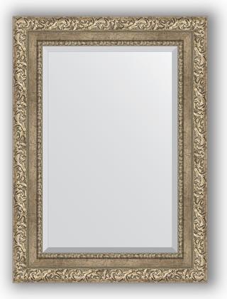 Зеркало с фацетом в багетной раме 55x75см виньетка античное серебро 85мм Evoform BY 3383
