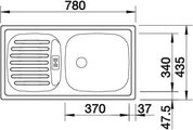 BLANCO FLEX mini Схема с размерами вид сверху