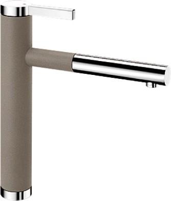 Смеситель кухонный однорычажный с выдвижным изливом, серый беж / хром Blanco LINEE-S 518446