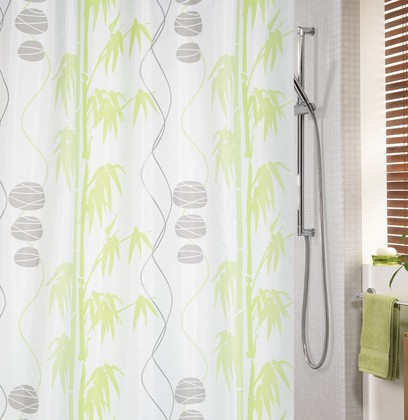 Штора для ванной комнаты 180x200см текстильная, серо-зелёная Spirella BENESSERE 1017935