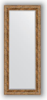 Зеркало с фацетом в багетной раме 60x145см виньетка античная бронза 85мм Evoform BY 3540