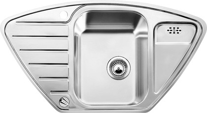 Кухонная мойка крыло слева, с клапаном-автоматом, нержавеющая сталь полированная Blanco LANTOS 9 E-IF 516277