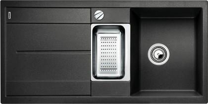 Кухонная мойка оборачиваемая с крылом, с клапаном-автоматом, коландером, гранит, антрацит Blanco METRA 6 S 513053
