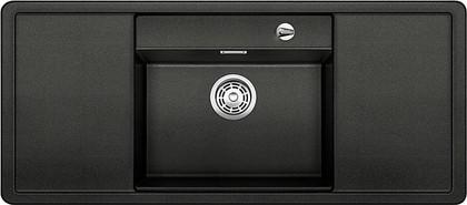 Кухонная мойка с крылом, чаша в центре, с клапаном-автоматом, чёрные аксессуары, гранит, антрацит Blanco ALAROS 6 S 516556