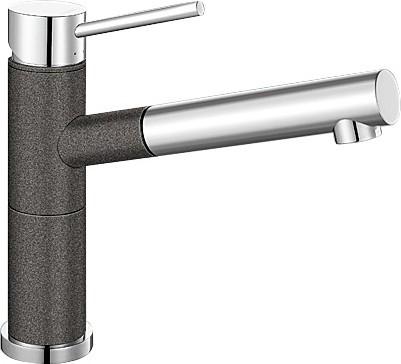 Небольшой кухонный однорычажный смеситель с выдвижным изливом, хром / антрацит Blanco ALTA-S Compact 515333