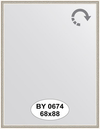 Зеркало 68x88см в багетной раме витое серебро Evoform BY 0674