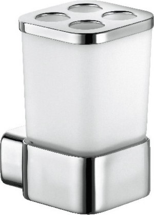 Стакан для зубных щёток стеклянный с настенным хромированным держателем Kludi E2 4998205