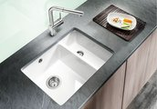 Кухонная мойка без крыла, керамика, белый глянцевый Blanco SUBLINE 350/150-U PuraPlus 514522