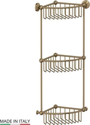 Полочка-решётка для ванной угловая тройная, бронза 3SC STI 509