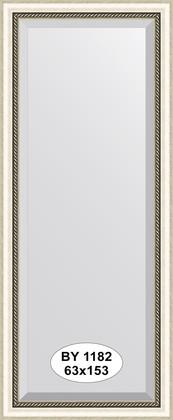 Зеркало 63x153см с фацетом 30мм в багетной раме старое серебро с плетением Evoform BY 1182