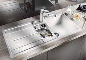 Кухонная мойка оборачиваемая с крылом, с клапаном-автоматом, коландером, гранит, белый Blanco METRA 6 S-F 519115