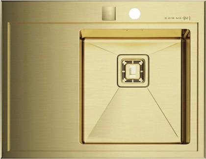 Кухонная мойка крыло слева, нержавеющая сталь золотая Omoikiri Akisame 65-IN-LG-R 4993014