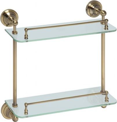 Полка для ванной, двойная стеклянная 400мм, бронза, Bemeta 144102127