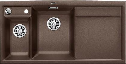 Кухонная мойка чаши слева, крыло справа, с клапаном-автоматом, с коландером, гранит, кофе Blanco AXIA II 6 S 516837