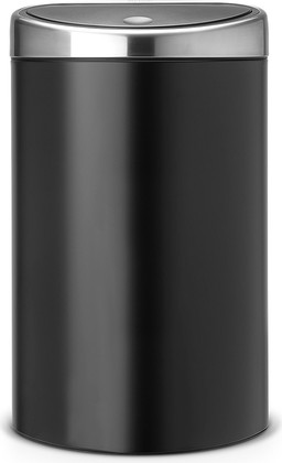 Ведро для мусора с плоской задней стороной 40л чёрное матовое Brabantia TOUCH BIN 378768