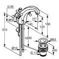 Смеситель вентильный с донным клапаном для раковины, хром Kludi ADLON 510100520