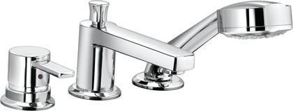 Смеситель однорычажный с душевой лейкой на 3 отверстия на бортик ванны, хром Kludi ZENTA 384460575