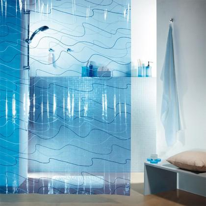 Штора для ванны 180x200см синяя Spirella POOL 1004109