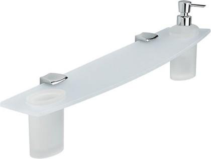 Полка стеклянная для ванной 75см с дозатором и стаканчиком, хром Colombo LAND B2815