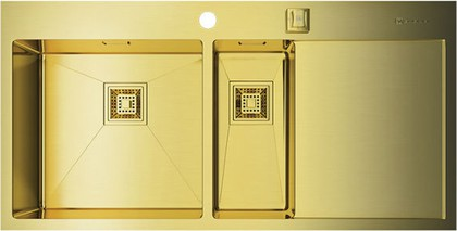 Кухонная мойка с правым крылом, нержавеющая сталь, золото Omoikiri Akisame 100-2-LG-L 4993089