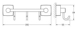 Держатель с тремя крючками, 20см хром FBS ESP 024