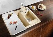 Кухонная мойка оборачиваемая без крыла, с клапаном-автоматом, гранит, белый Blanco METRA 6 516157