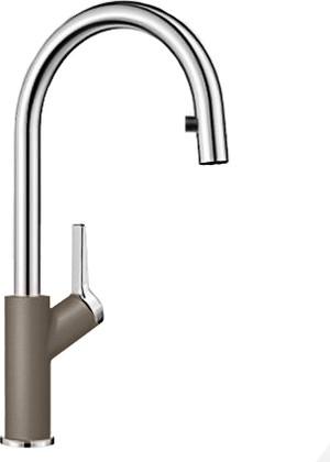 Смеситель кухонный однорычажный с высоким выдвижным изливом, серый беж Blanco CARENA-S 520987