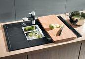 Кухонная мойка оборачиваемая с крылом, с клапаном-автоматом, гранит, шампань Blanco METRA 6 S COMPACT 513938