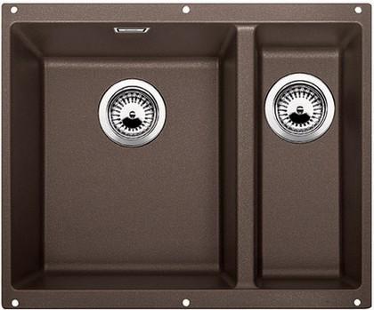 Кухонная мойка без крыла, основная чаша слева, с клапаном-автоматом, гранит, кофе Blanco SUBLINE 340/160-U 515057