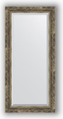Зеркало с фацетом в багетной раме 53x113см старое дерево с плетением 70мм Evoform BY 3486