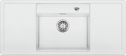 Кухонная мойка с крылом, чаша в центре, с клапаном-автоматом, белые аксессуары, гранит, белый Blanco ALAROS 6 S 516723