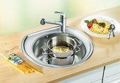 Кухонная мойка без крыла, нержавеющая сталь полированная Blanco RONDOVAL 513313