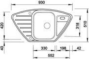 BLANCO LANTOS 9 E Схема с размерами вид сверху